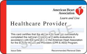 American Heart Association BLS CPR certification card