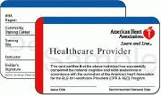 American Heart Association CPR certification card