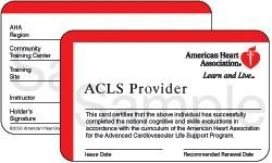 American Heart Association ACLS Card