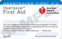 American Heart Association First-aid Course