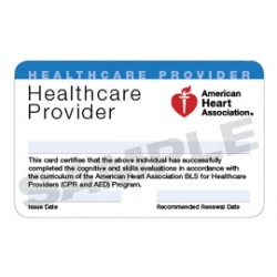 American Heart Association BLS Certification card